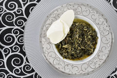 Lentils with spinach and Garlic Royalty Free Stock Photography