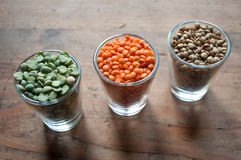 Lentils and split peas Stock Photo