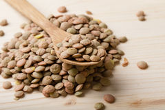 Lentils with spoon Stock Photography