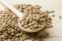 Lentils with spoon Stock Images