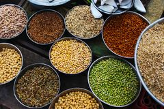 Lentils and sprouts for sale at vegetable market Pune, Maharashtra.  royalty free stock images