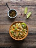 Lentils stewed in a pot with vegetables. Top view stock image