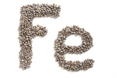 Lentils, symbolic iron food. Lentils contain a lot of iron. Fe is the symbol on periodic table of iron stock photos