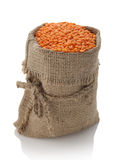 Lentils in a textile sack Royalty Free Stock Images