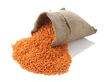 Lentils in a textile sack Royalty Free Stock Photo