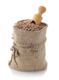 Lentils in a textile sack Stock Images