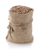 Lentils in a textile sack Royalty Free Stock Image