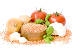 Lentils, tomatos, basil, onion and garlic Royalty Free Stock Photos
