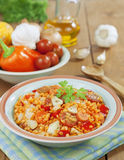 Red lentils with vegetables Stock Images