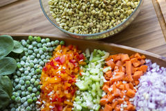 Lentils with vegetables. With a lot flavor, color and vitamins Stock Photos