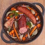 Lentils with vegetables and meats Stock Photos