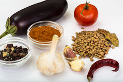 Lentils with vegetables and spices for cooking Royalty Free Stock Image