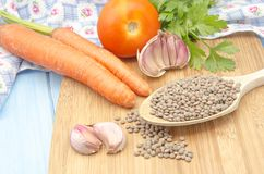 Lentils and vegetables Royalty Free Stock Photos