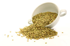 Lentils in a white bowl Royalty Free Stock Image