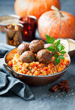 Lentils With Vegetables, Pumpkin And Lamb Meatballs Stock Photography