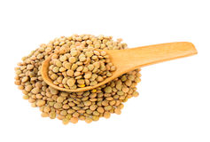 Lentils in wood spoon Royalty Free Stock Images