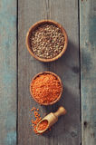 Lentils in wooden bowl Stock Photos