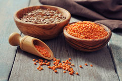 Lentils in wooden bowl Royalty Free Stock Photo