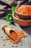 Lentils in wooden bowl Royalty Free Stock Photography