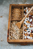 Lentils in wooden box Royalty Free Stock Photo