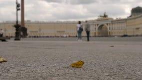 LENTO: La hoja amarilla vuela en el cuadrado del palacio en el fondo en un día nublado - St Petersburg, Rusia del estado mayor ge almacen de metraje de vídeo