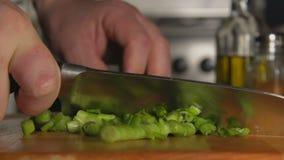 LENTO: La mano de un cocinero corta una cebolla verde por un cuchillo almacen de video