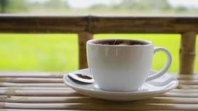 Lento-movimento de espalhar o açúcar à xícara de café vídeos de arquivo