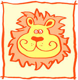 Leo. The funny Lion head illustration Royalty Free Stock Image