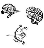 Leo, aries and sagittarius symbols Stock Image