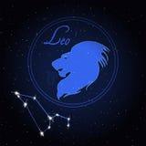 Leo Astrology-Konstellation des Tierkreises Stockbild