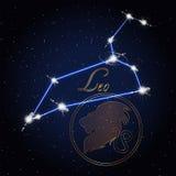 Leo Astrology-Konstellation des Tierkreises Lizenzfreies Stockbild