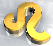 Leo astrology symbol in gold (3d) Royalty Free Stock Photography