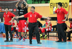 Leo Austria head coach of San Miguel Beermen in action during ASEAN Basketball League  Stock Image