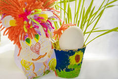 Leo cardboard Easter egg greens Royalty Free Stock Photo
