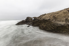 Leo Carrillo Beach with Motion Blur Water in Malibu Stock Images