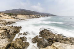 Leo Carrillo Beach with Motion Bur Water in Malibu Royalty Free Stock Photography