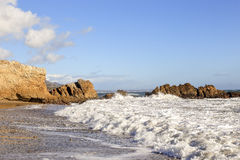 Leo Carrillo State Beach, Malibu California. White Waves at Leo Carrillo State Beach, Malibu California Royalty Free Stock Photo