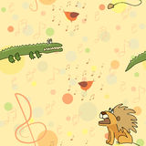 Leo and crocodile listen bird's singing seamless pattern Stock Image