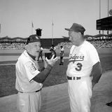 Leo Durocher and Walter Alston, legendary managers. Hall of Fame managers Leo Durocher and Walter Alston at Dodger Stadium. (Image taken from a B&W negative Stock Photography