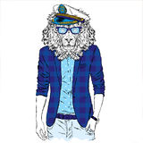Leo hipster in a jacket and sunglasses . Vector illustration. The print on the cover , clothing or card . Royalty Free Stock Photography