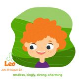 Leo. Kids zodiac. Children horoscope sign. Astrological symbols with cute baby face in cartoon style.  Royalty Free Stock Photos