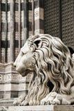 Leo. La catedral de San Lorenzo, Génova, Italia Imagenes de archivo