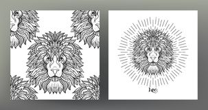 Set of Zodiac sign illustration on the sacred geometry symbol pattern and seamless pattern. Leo, lion. Set of Zodiac sign illustration on the sacred geometry royalty free stock photos