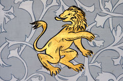 Leo the lion zodiac sign. Ancient wall painting of a zodiac symbol of leo royalty free stock photo