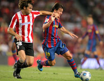 Leo Messi in action. Futbol Club Barcelona argentinian star Leo Messi during Spanish Supercup football match between Barcelona vs Athletic Bilbao at the New Camp Royalty Free Stock Photos