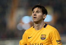 Leo Messi. In action during the match between Barcelona and Valencia Royalty Free Stock Image