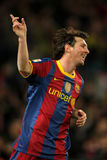 Leo Messi of Barcelona. Celebrates goal during a Spanish League match between FC Barcelona and Real Sociedad at the Nou Camp Stadium on December 12, 2010 in Royalty Free Stock Photo