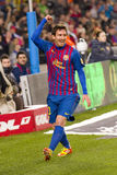 Leo Messi celebrating a goal Stock Photos