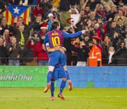 Leo Messi celebrating a goal Stock Image