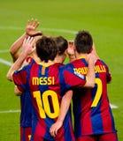 Leo Messi che celebra un obiettivo Fotografia Stock